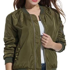 Vintage Silky Army Green Bomber Jacket Top XL